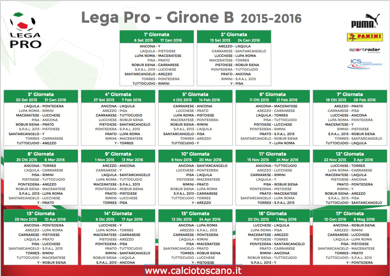Calendario Lega Pro 2015-16 Girone B